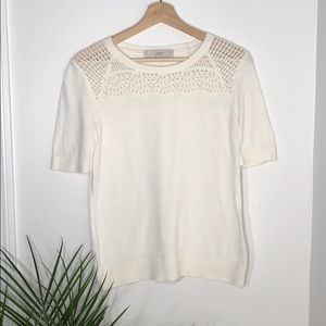 🍁🌲🍂 Anne Taylor Loft White Knit Top 🍂🌲🍁